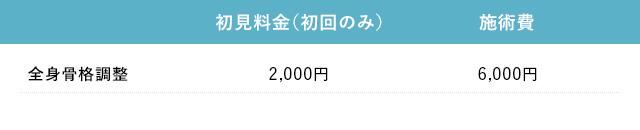 全身骨格調整 2,000円